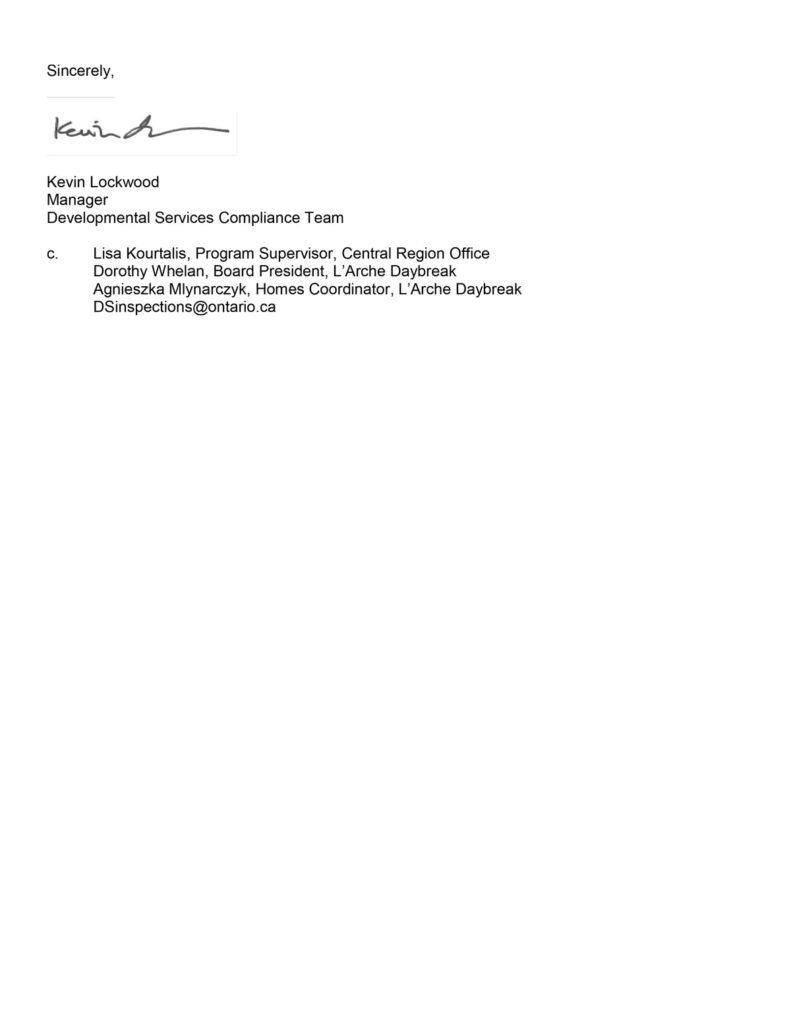 Page 2 - Letter for 2015 from the Ministry of Community and Social Services (MCSS) confirming L'Arche Daybreak's Full compliance with MCSS Regulations. (Ontario Regulation 299/10 Quality Assurance Measures and the Policy Directives for Service Agencies.