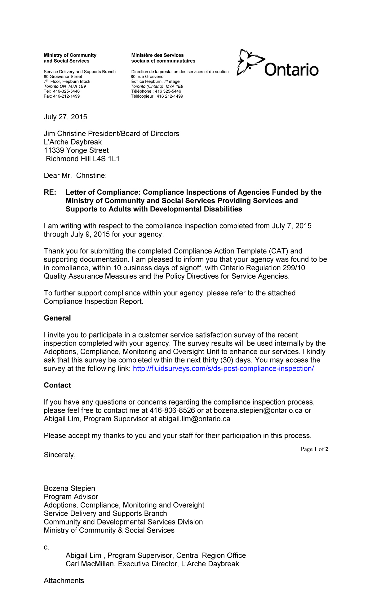 Letter for 2015 from the Ministry of Community and Social Services (MCSS) confirming L'Arche Daybreak's compliance with MCSS regulations. (Ontario Regulation 299/10 Quality Assurance Measures and the Policy Directives for Service Agencies.