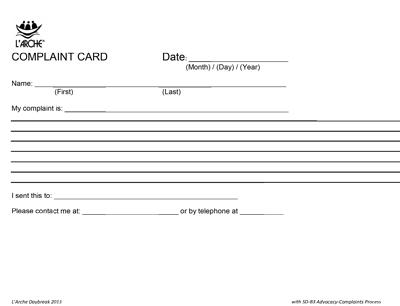 Complaints Card
