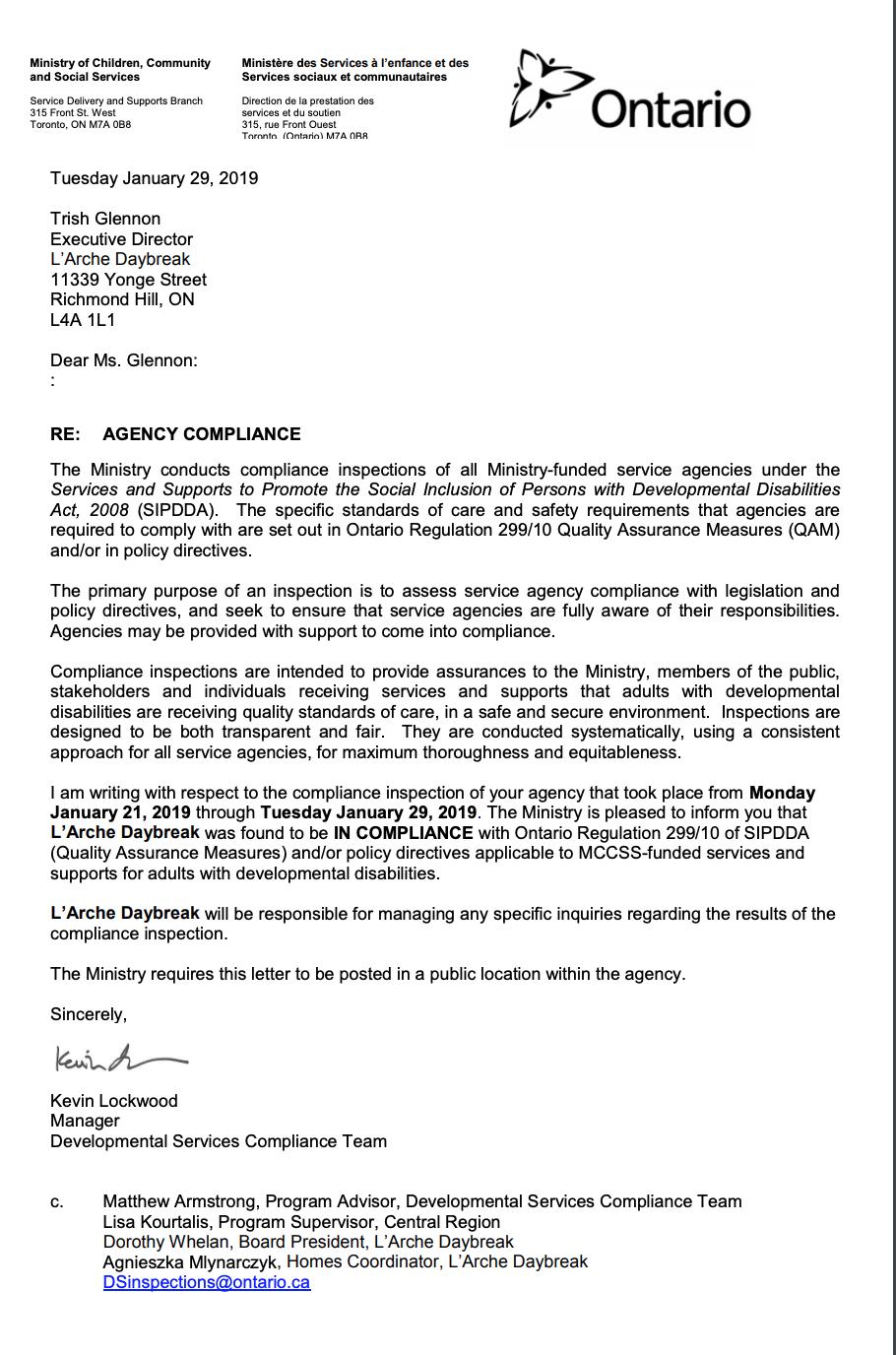 Community Service Confirmation Letter from larchedaybreak.com